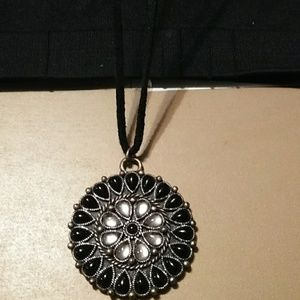 Real Suede Boho Necklace W/ Black and Clear Stones